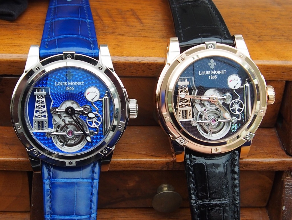 The watch is offered in white gold with blue dial or rose gold with black dial