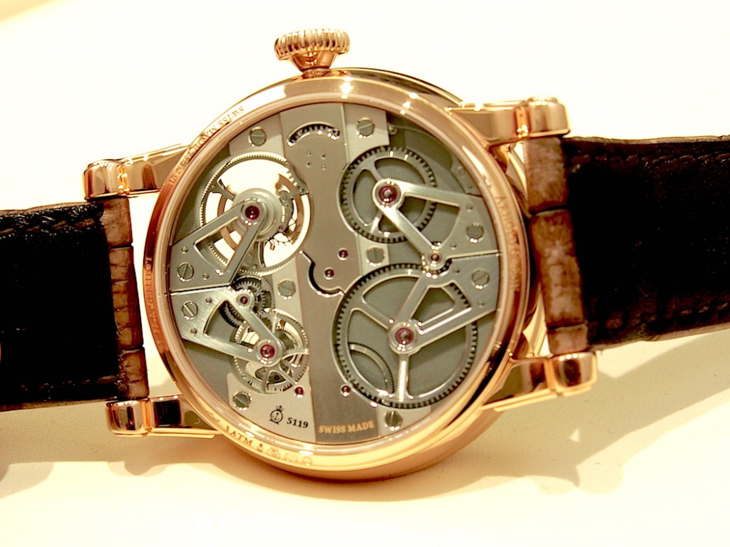 Even the reverse side of the Arnold & Son Constant Force Tourbillon offers a rich horological adventure