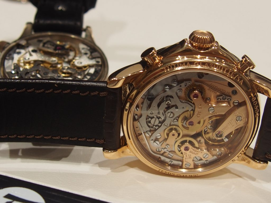 The new caliber T659 for the Tutima Tempostopp is meticulously finished and can be viewed via a sapphire caseback.