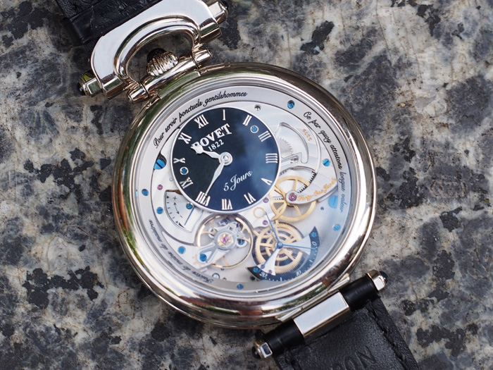 The second side the Bovet Vrituoso VII offers time, seconds at 6:00 and power reserve indication