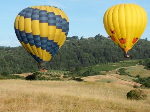 hot air ballooning over Napa Valley with Vacheron Constantin