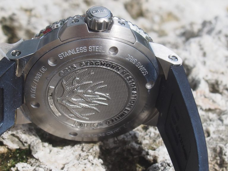The back of the Oris Staghorn Restoration Limited Edition watch
