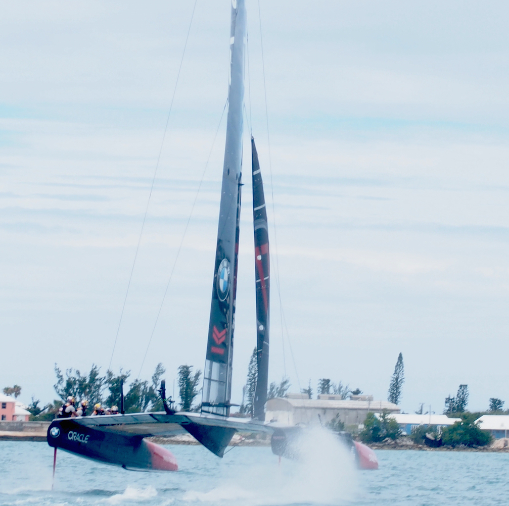 Oracle Team USA flying through the water in the 35th America's Cup in Bermuda.