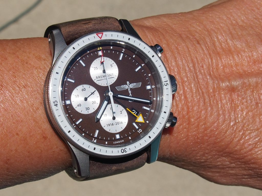 On the wrist, the 43mm Ti-6-4 titanium Bremont Boeing 100 Limited Edition watch fits nicely and offers a bold look.