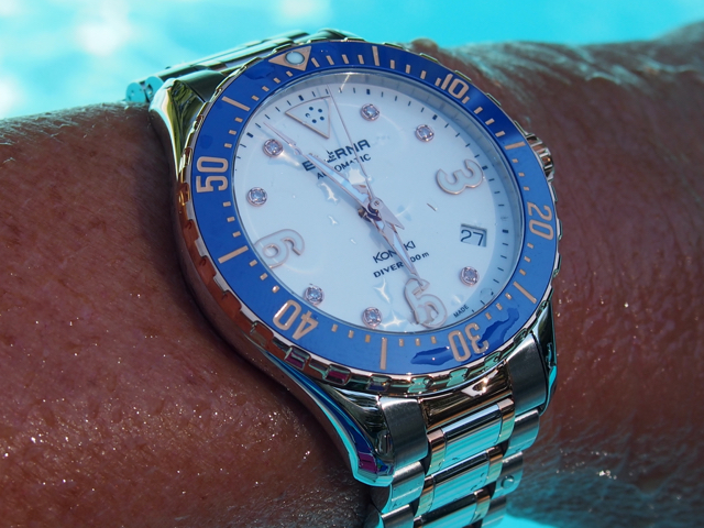 The watches are water resistant to 200 meters.