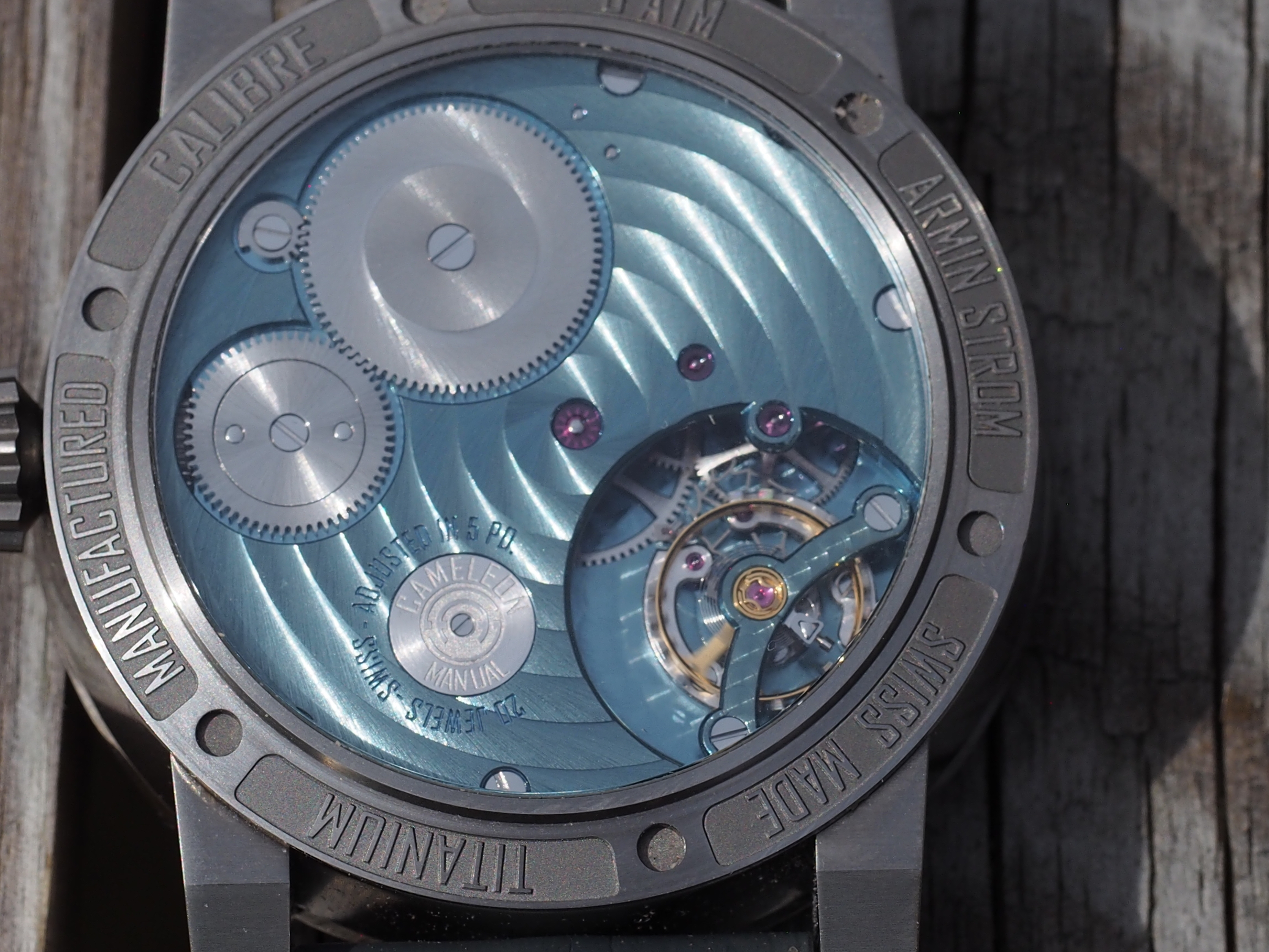 While the Armin Strom Cameleon Manual watch seen here is configured in blue, you can choose any colors for the caliber components.