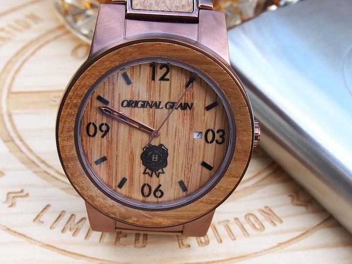 Original Grain Jim Beam Limited Edition American Oak Bourbon Barrel reclaimed wood watch.