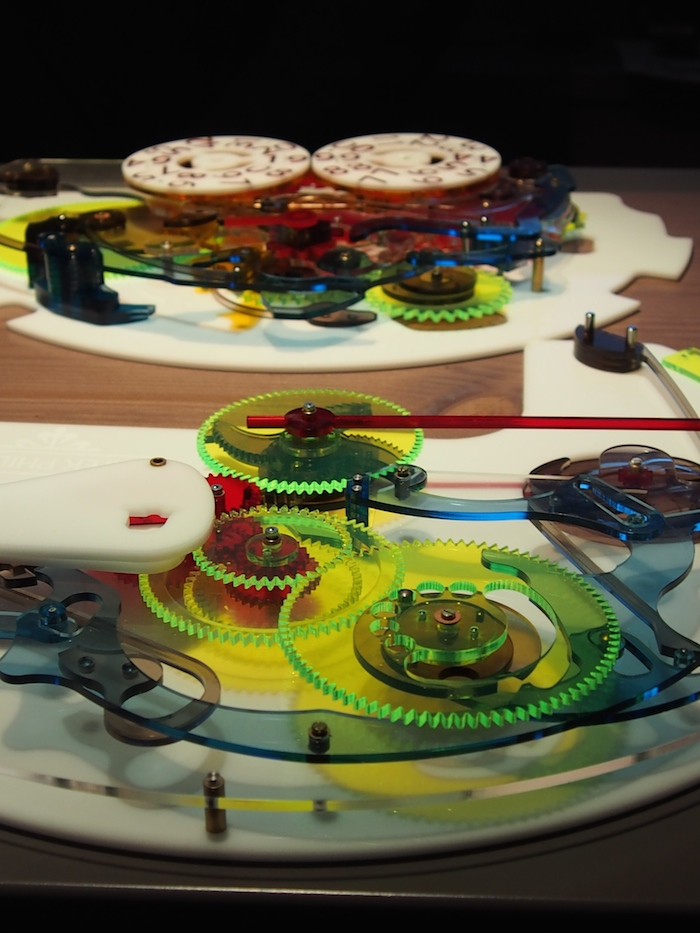Full-scale color models of the movements were there to demonstrate how the mechanics of the new Masterchime work.