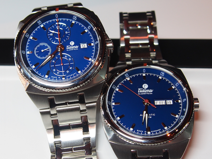 Tutima Saxon One Chronograph and Saxon One Automatic with alluring blue dials.