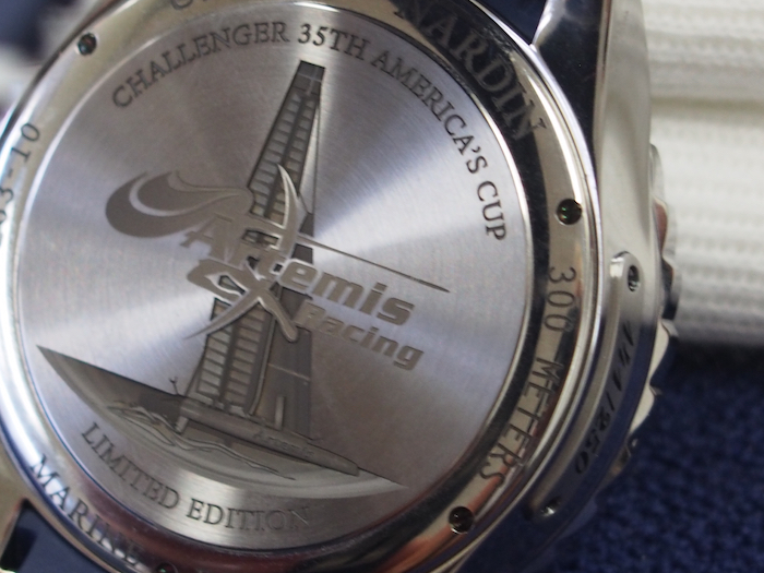 The back of the watch is engraved with the image of the boat