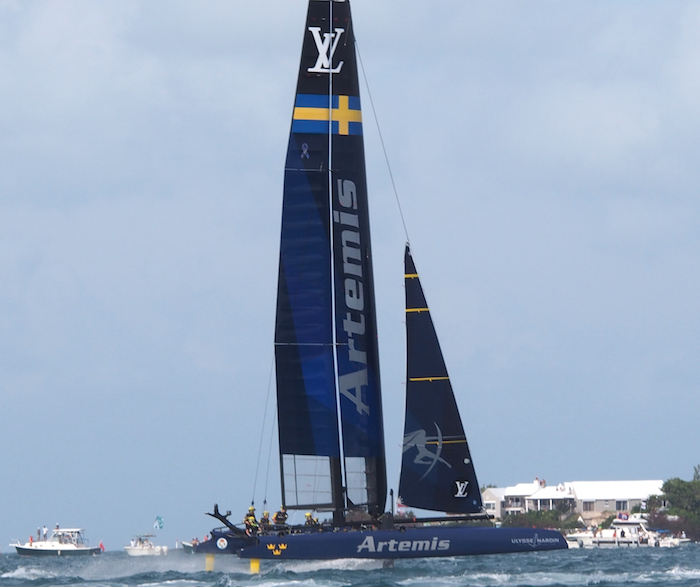 Artemis Racing Team foiling in the catamaran during Sunday's races (photo: R.Naas)