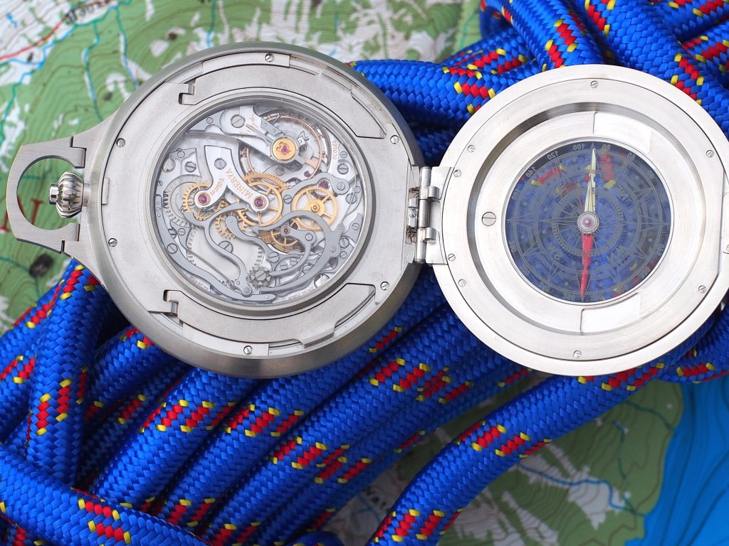 The movement of the Montblanc 1858 Pocket Watch LE 100 is the mechanical M16.29, made by Minerva.