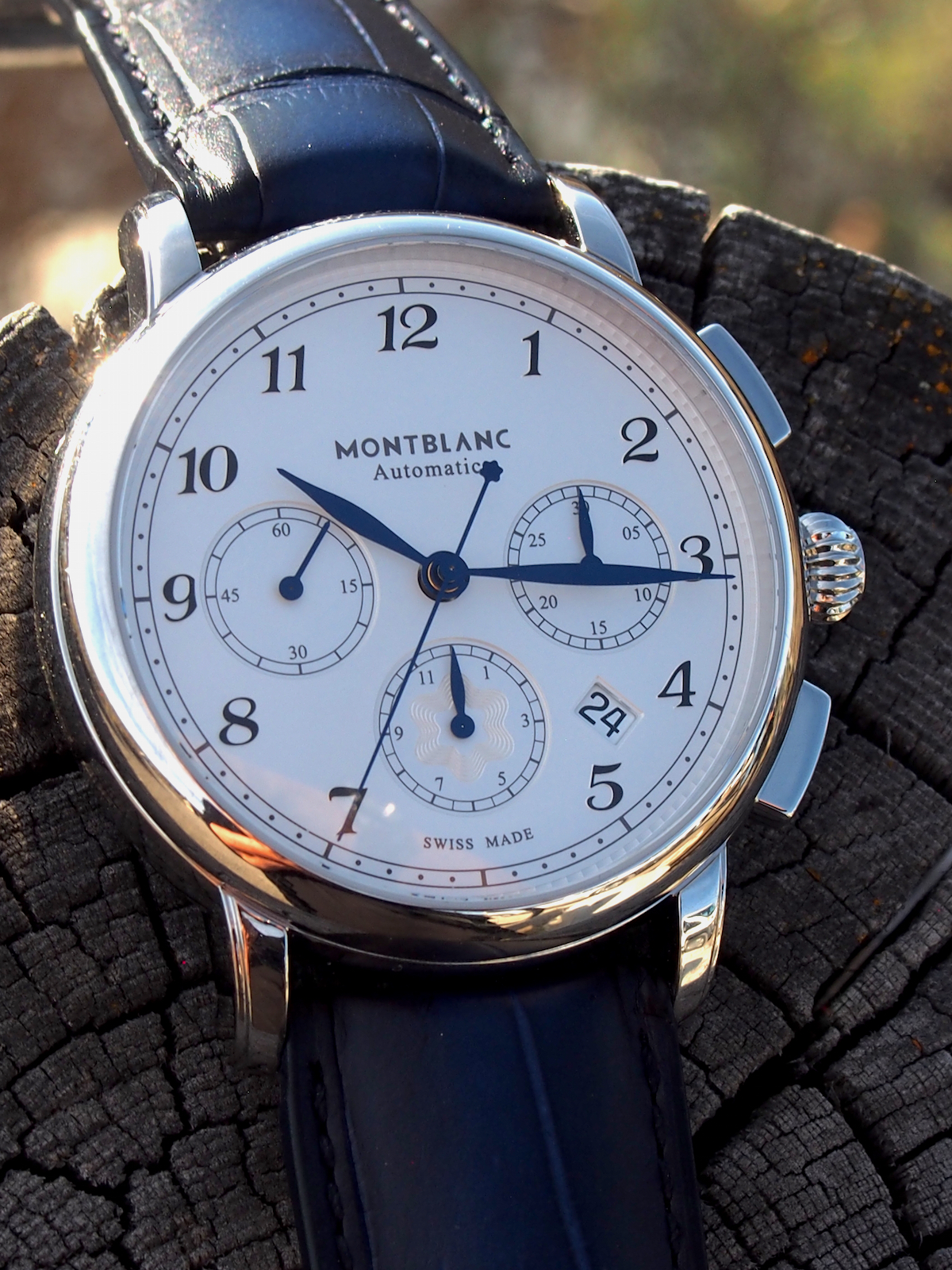Pre-SIHH 2018: Montblanc Star Legacy Automatic Chronograph is a vision in blue, white and silver beauty for approximately $3,990.