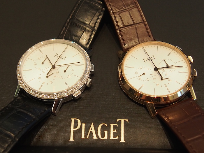 Piaget Ultra-thin Altiplano Chronograph is offered in white gold or rose gold