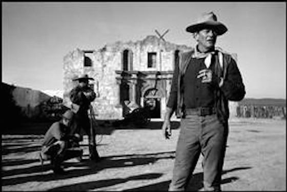"John Wayne on the set of ""The Alamo"""