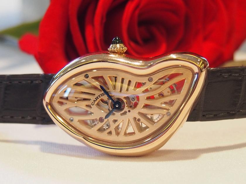 Cartier's newest Skeltonized Crash in 18-karat pink gold (Photo: R.Naas)