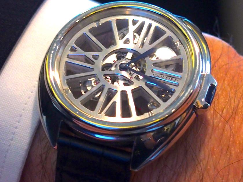 Cle' de Cartier Skeleton watch on the wrist