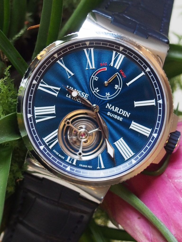 The dial of the Ulysse Nardin Marine Tourbillon Blue Grand Feu watch unveiled at SIHH 2018 is a study in artistic beauty.
