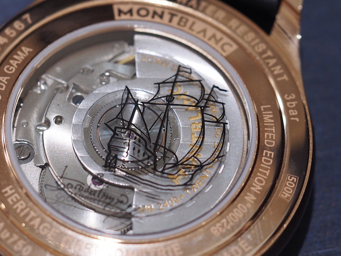 The back of the Montblanc Heritage Exo Tourbillon Vasco da Gama