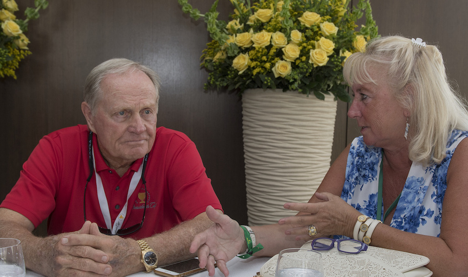 Jack Nicklaus with ATimelyPerspective's Roberta Naas a The President's Cup 2017.
