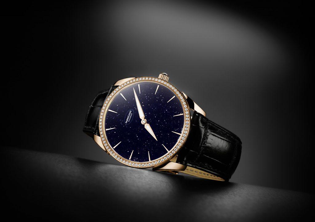 The Parmigiani Fleurier Tonda 1950 Set Galaxy watch features an aventurine dial and diamond-set case.