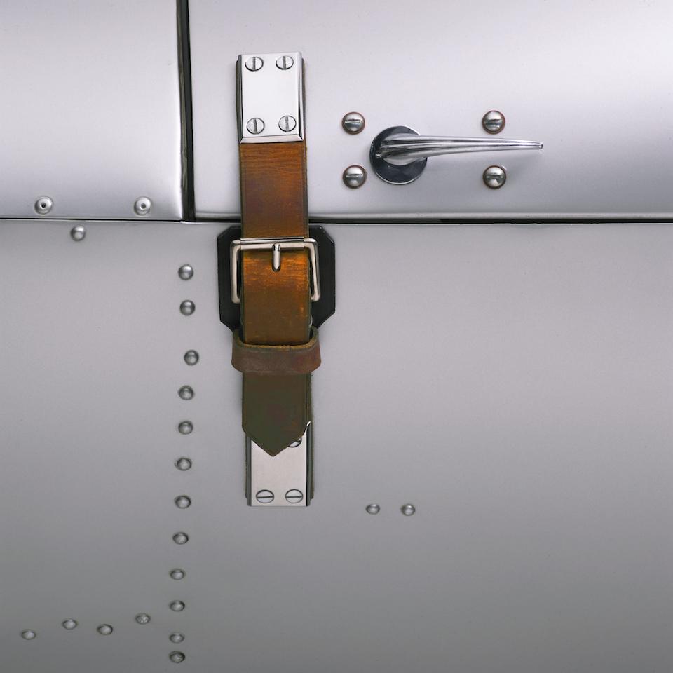 The Ralph Lauren Automotive Skeleton 45mm Steel Bracelet watch features screws meant to look like the rivets of one of Ralph Lauren's race cars.