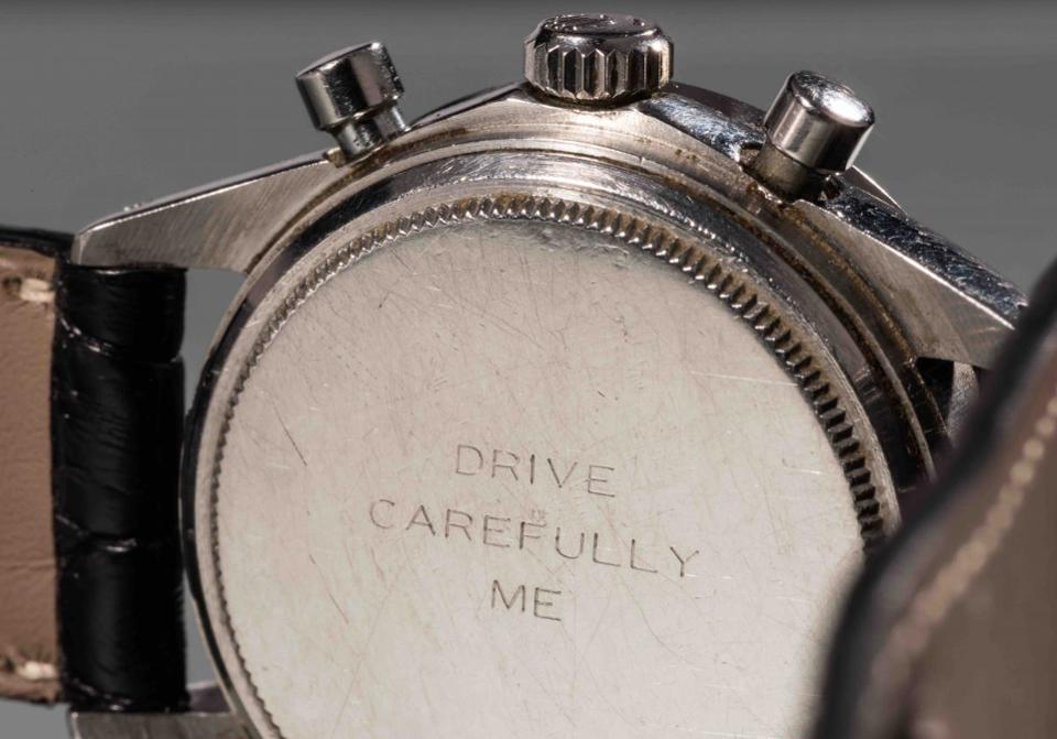 """The caseback of the Paul Newman Rolex Daytona that sold for $17.7+ milllion is engraved with """"Drive Carefully Me"""" from Joanne Woodward."""