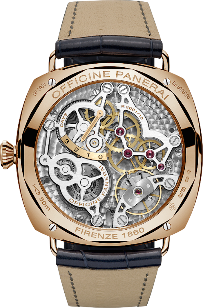The back of the Panerai Raadiomir GMT Oro Rosso (PAM 598) allows viewing of the skeletonization.