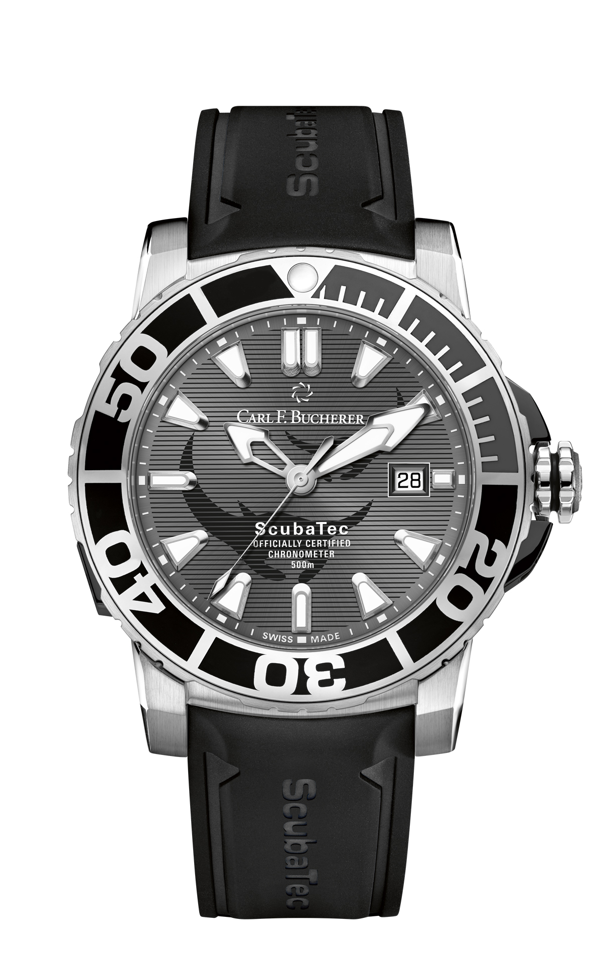 Carl F. Bucherer Patravi Scubatec Manta Trust watch is water resistant to 500 meters.