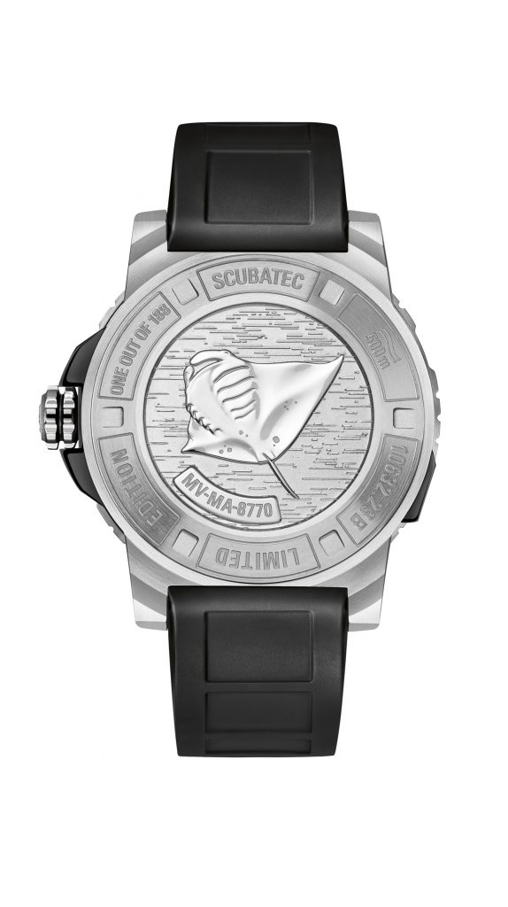 The caseback of each Carl F. Bucherer Patravi ScubaTec Manta Trust watch is engraved with a manta ray, and the pattern found on one particular manta ray, that the owner of the watch can then go and name on a website.