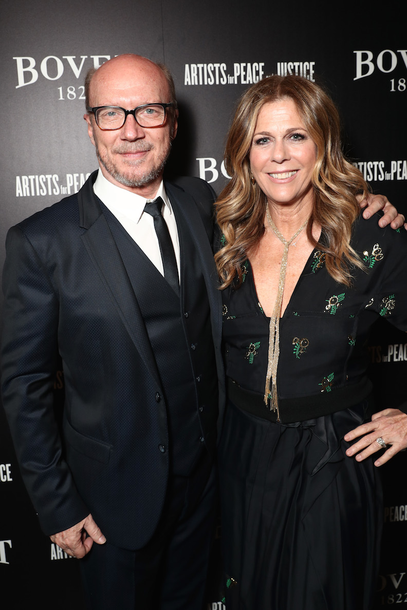 """Director Paul Haggis and Rita Wilson attend BOVET 1822 & Artists for Peace and Justice Present """"Songs From the Cinema"""" Benefit on February 23, 2017 in Los Angeles, California. (Photo by Todd Williamson/Getty Images for Artists for Peace and Justice)"""