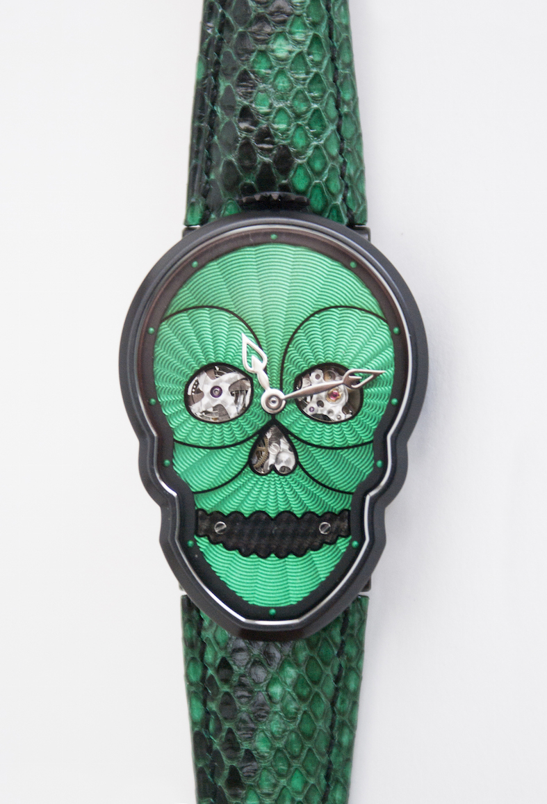 Fiona Kruger Petit Skull Black and Green Python