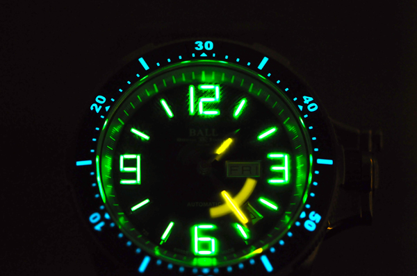 The luminous markers on this Ball watch are actually micro gas tubes filled with tritium gas.