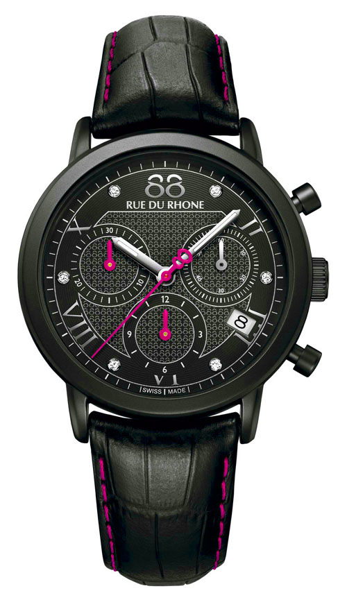 This Pink Lady quartz chronograph from 88 Rue du Rhone is dedicated to the breast cancer awareness month.