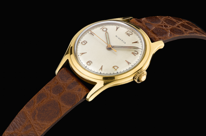 The 1948 Minerva Pythagore which inspired the design of the Heritage Chronométrie Ultra Slim