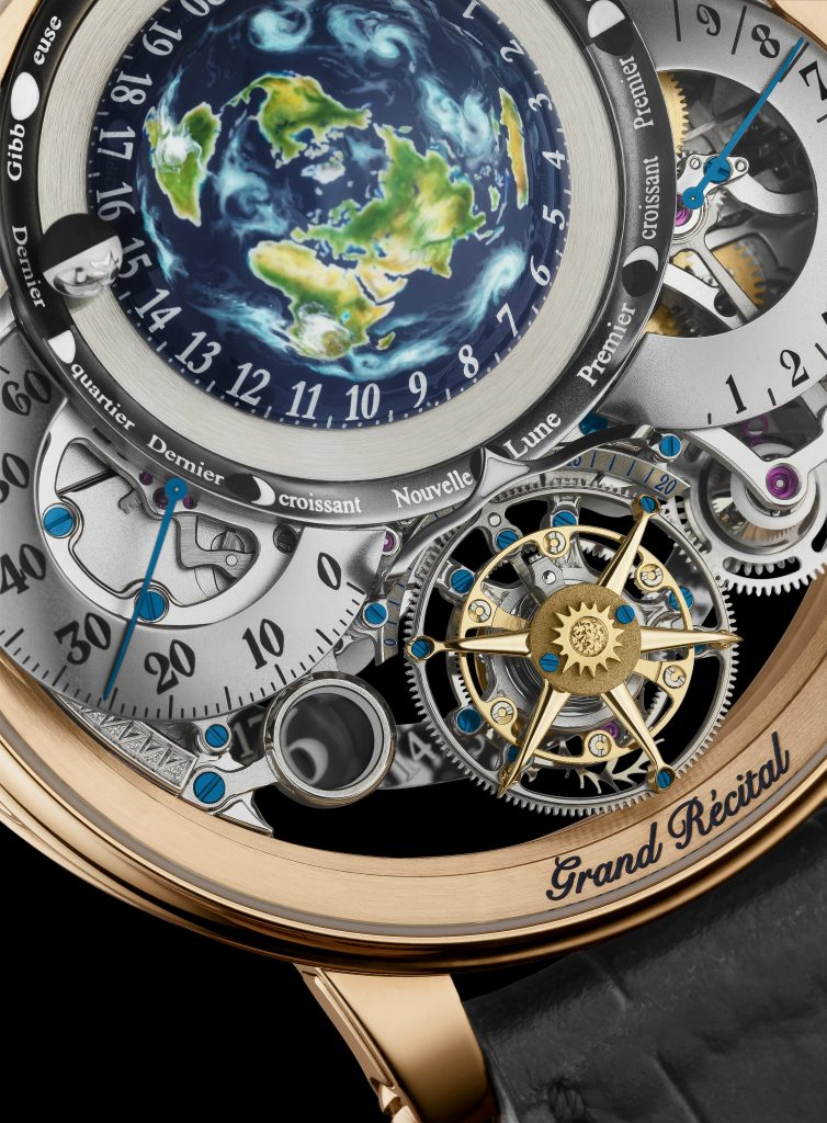The Bovet Recital 22 Grand Recital 9-day Flying Tourbillon Tellurium-Orrery and Retrograde Perpetual Calendar features a hand-engraved and hand-painted Earth globe.