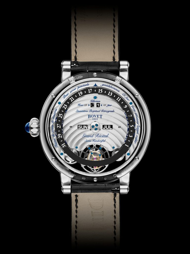 The Bovet Recital 22 Grand Recital watch offers a perpetual calendar functions on the reverse side.
