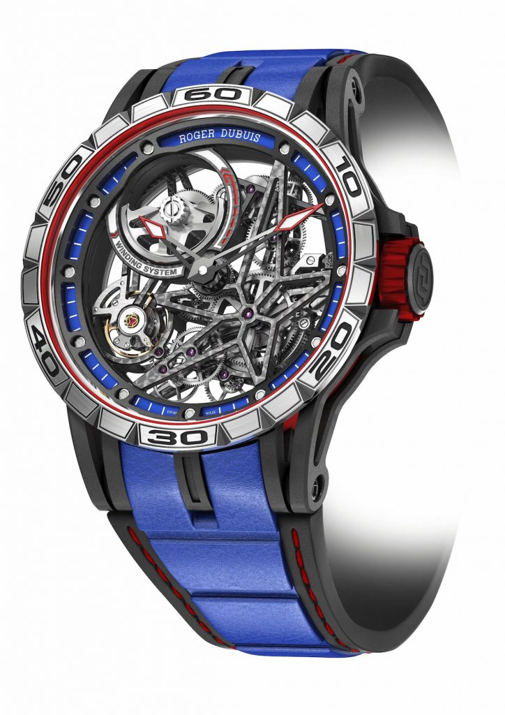 Roger Dubuis Excalibur Spider Skeleton Automatic is inspired by auto racing in color and skeletonization in design.