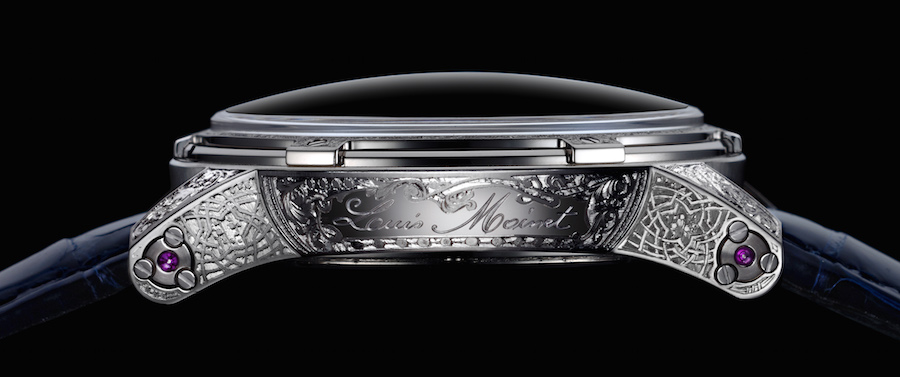 The white gold timepiece is hand engraved on the case and bezel.