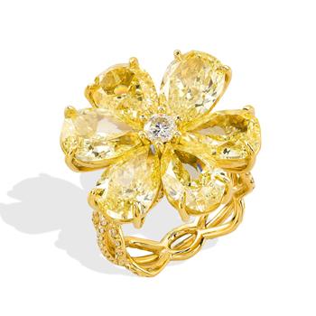 Fancy yellow diamond flower ring by Rahaminov
