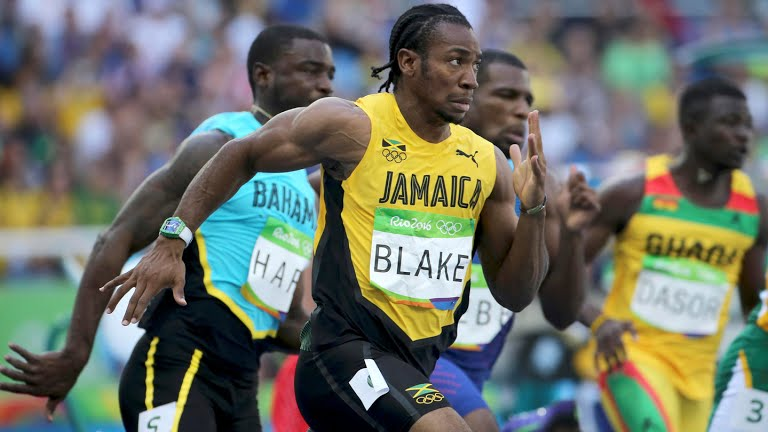 Yohan Blake at Rio 2016 during the 4X100, for which he took home the Gold. He ran wearing a Richard Mille watch.