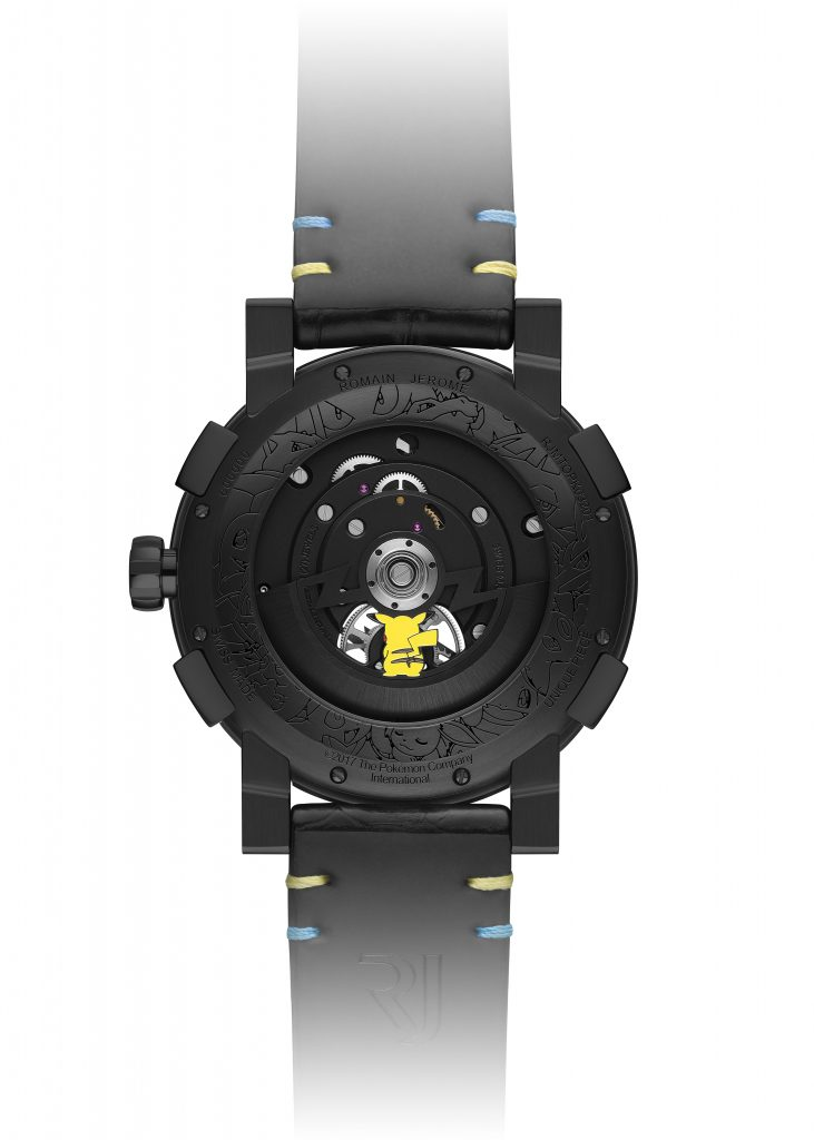 Even the caseback of the Romain Jerome Pokemon tourbillon watch features a small inset Pikachu.