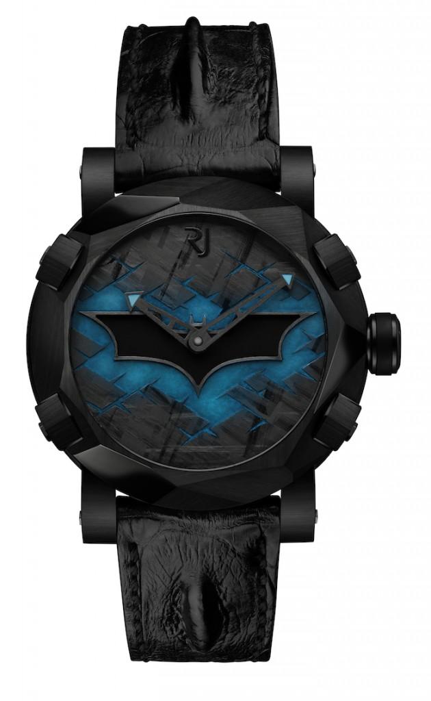 Romain Jerome Batman-DNA's bat logo glows blue in the dark thanks to a special Superluminova treatment.