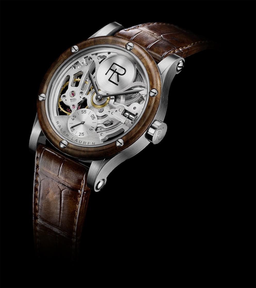 Ralph Lauren Automotive 45mm Skeleton Stainless Steel Bracelet watch, Ref. RLR0220004, on interchangeable alligator strap.
