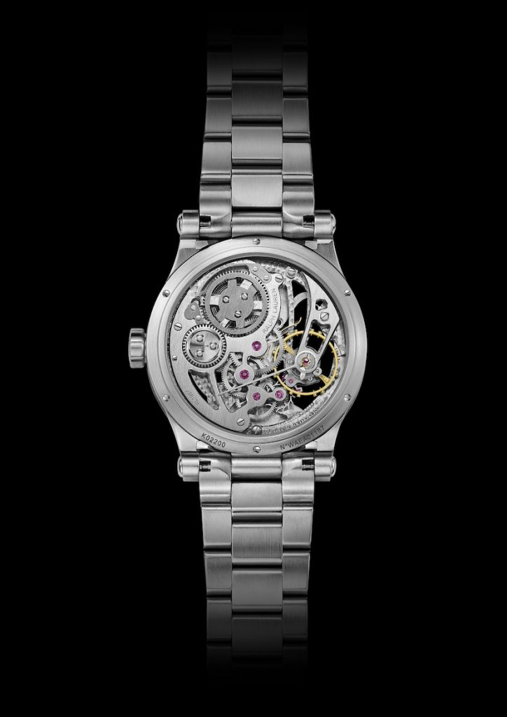 The manually wound caliber RL1967 powers the new Ralph Lauren Automotive Skeleton 45mm Steel Bracelet watch.