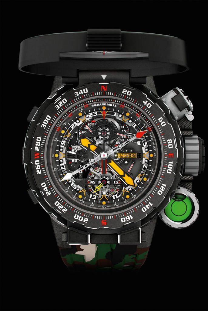 Richard Mille RM25-01 Tourbillon Adventure watch, made with Sylvester Stallone, features a hermetically sealed compartment for water purification tablets.