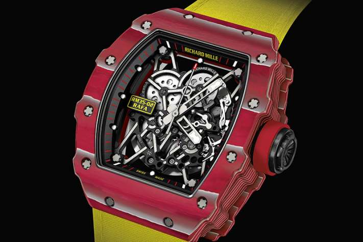 Richard Mille RM-35-02 Rafael Nadal Quartz TPT watch is made using layers of bright red and white silicon.