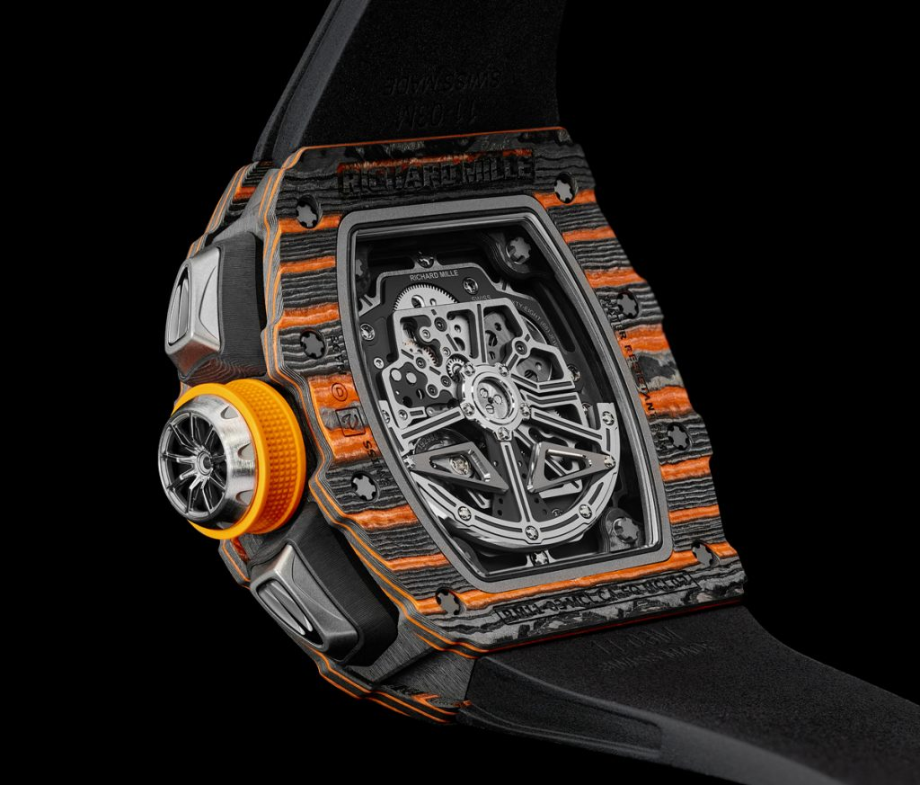 Richard Mille RM 11-03 McLaren Flyback Chronograph watch houses the RMAC3 caliber.