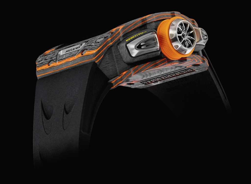 Side view of the Richard Mille RM 11-03 McLaren Flyback Chronograph watch