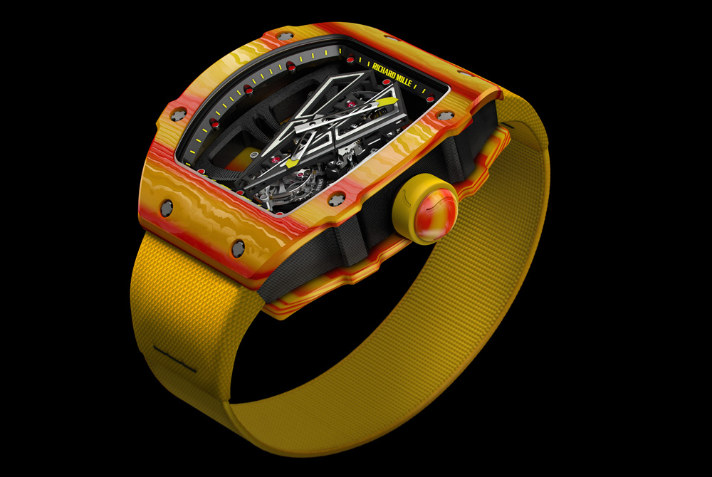 The new Richard Mille RM27-03 Rafael Nadal Tourbillon is made with high-tech materials and is super light in weight.